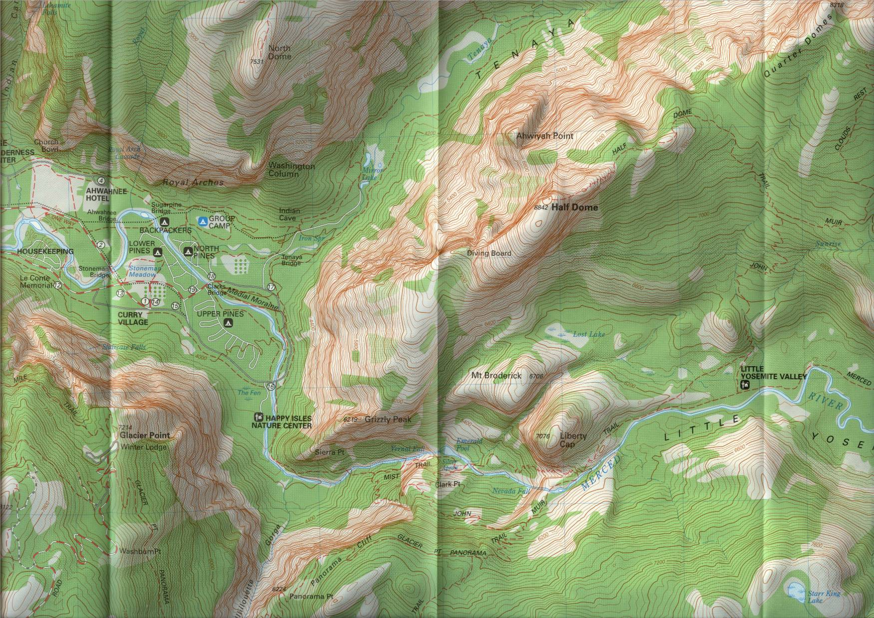 Half dome topographic map of the half dome trail the valley destinations curry village ahwanee hotel the pines campgrounds can be seen publicscrutiny Choice Image
